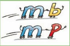 m delante de p y b